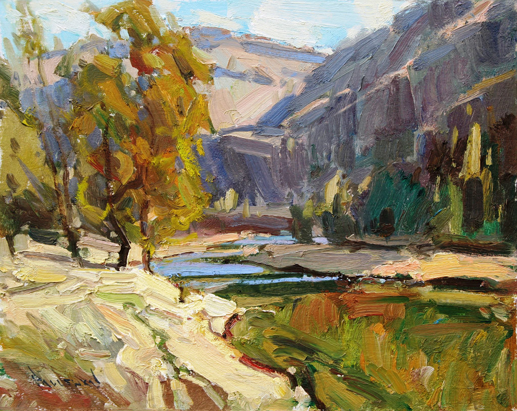 Anton Pavlenko, Crooked River Canyon, oil on panel