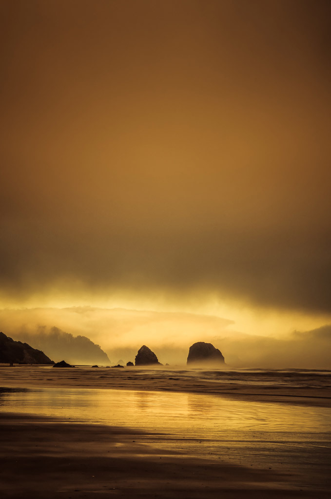 Don Schwartz, Sea Stacks at Sunset, photography