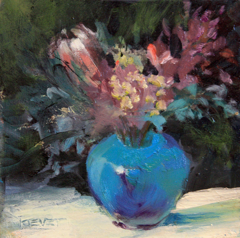 Fran Kievet Protea in Blue Vase