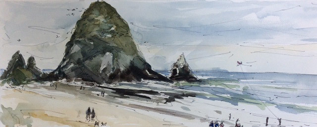 Jani Hoberg, Cannon Beach August, water color