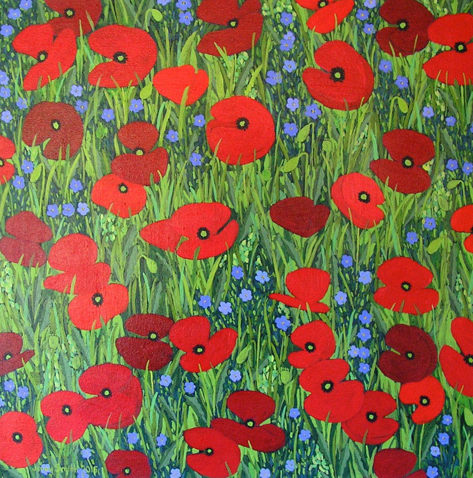 Jenny Smith, Red Poppies and Blue Flowers