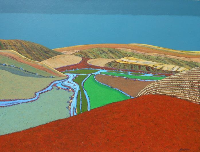 Jon Jay Cruson, Side Road Landscape #3, acrylic