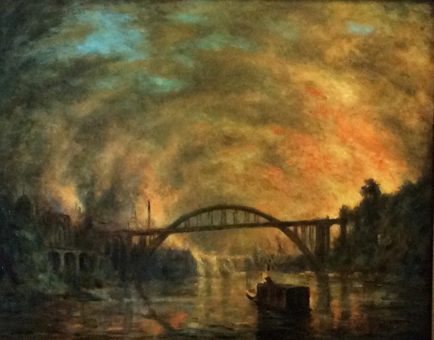 Leland John, Willamette Falls and Bridge: Sunset