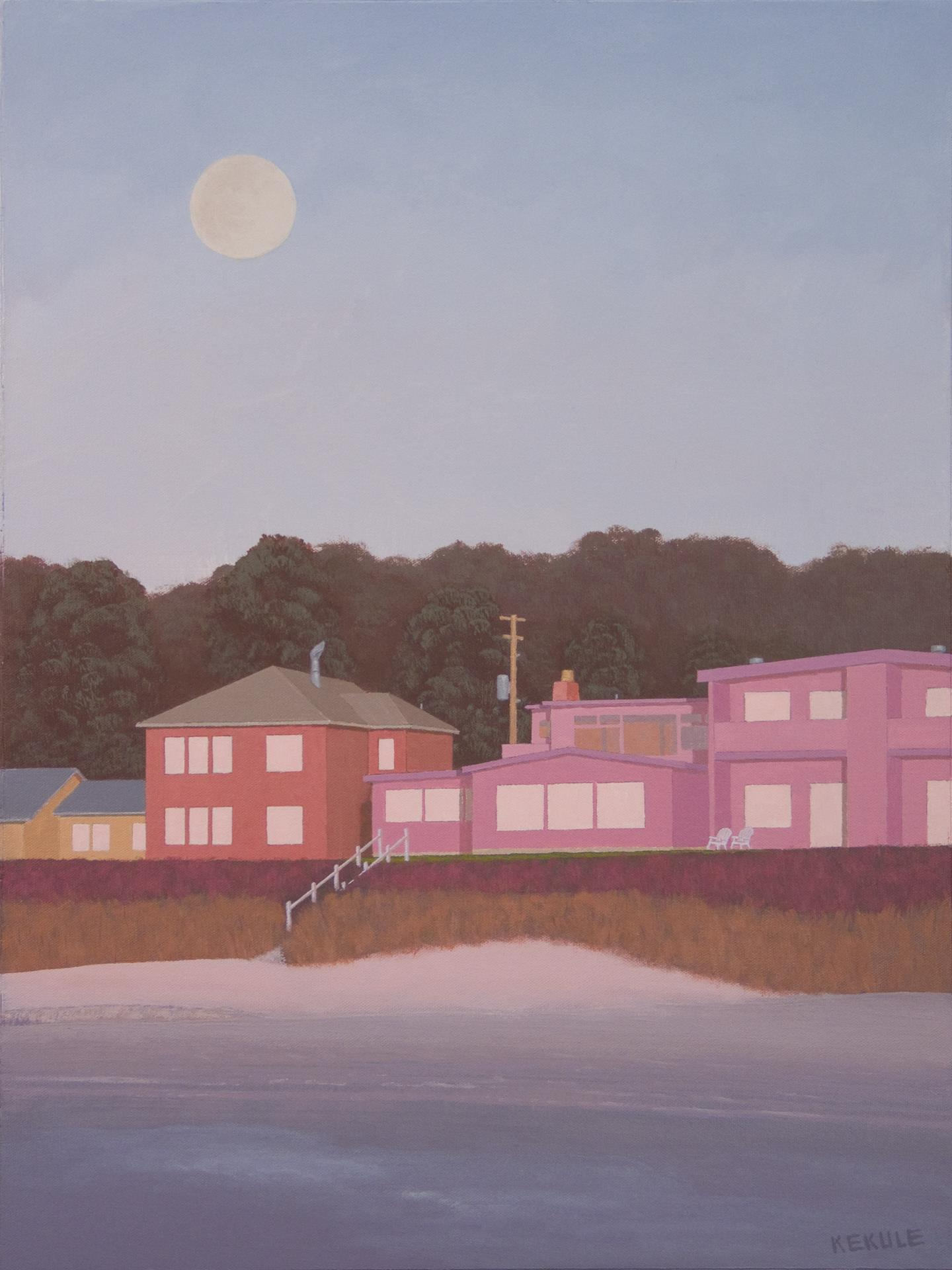 Stephen Kekule, Sunset at the Beach with a Full Moon Rising