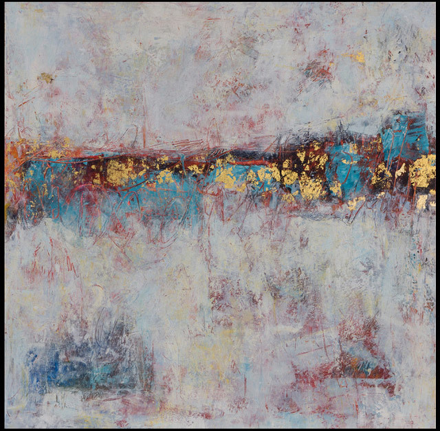 Eva MacLowry, Azure Fields (Gold Leaf Series), oil and wax