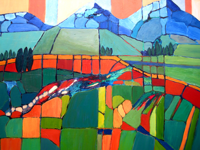 Janet Holt, Reogranizing the Landscape, acrylic