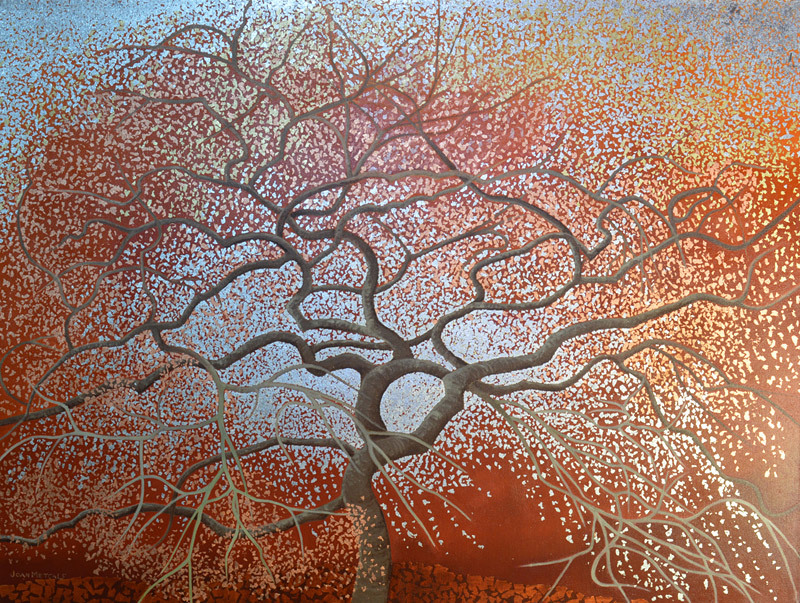 Joan Metcalf, Penny's Maple Tree, oil and metal leaf