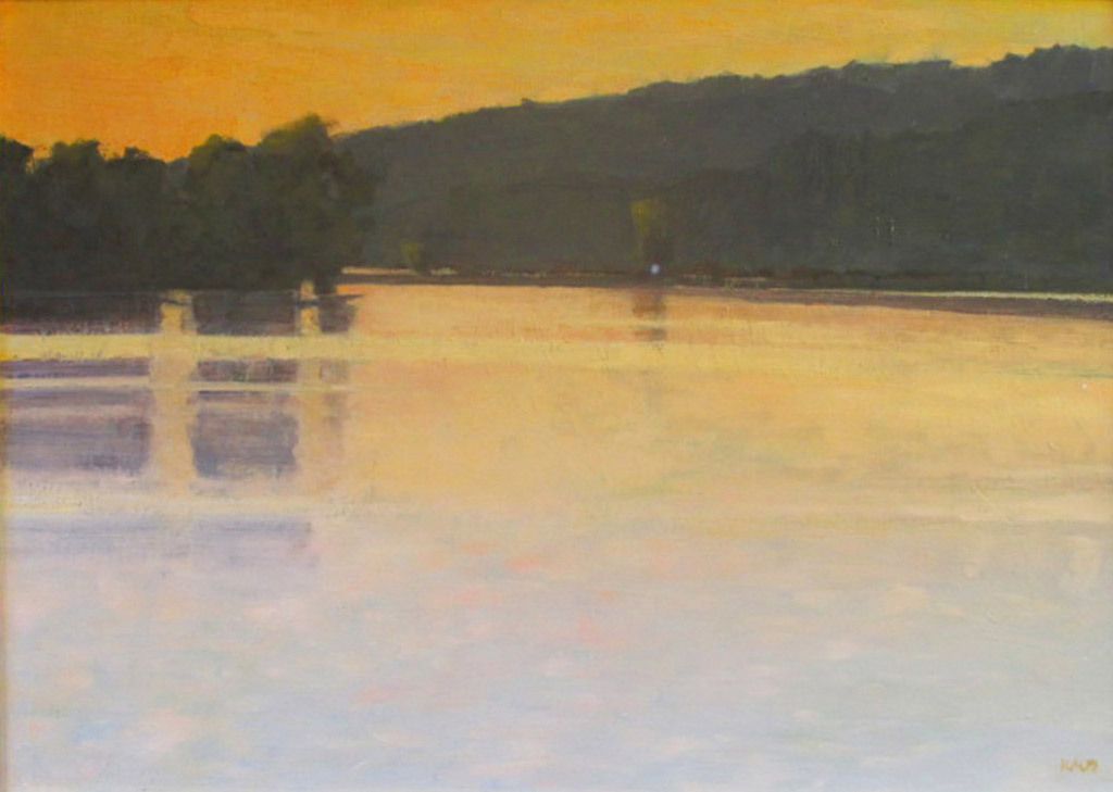 Ken Klos, Columbia River Sunset, oil on canvas