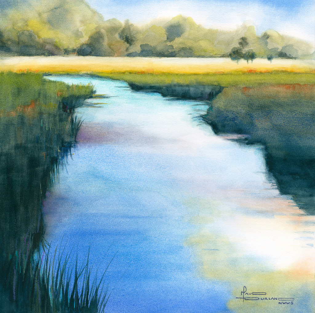 Maud Durland, Summer Creek, water color