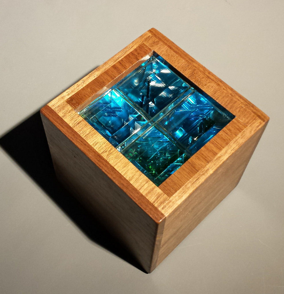 Robert Elan, Inner Cube II, Glass and Wood