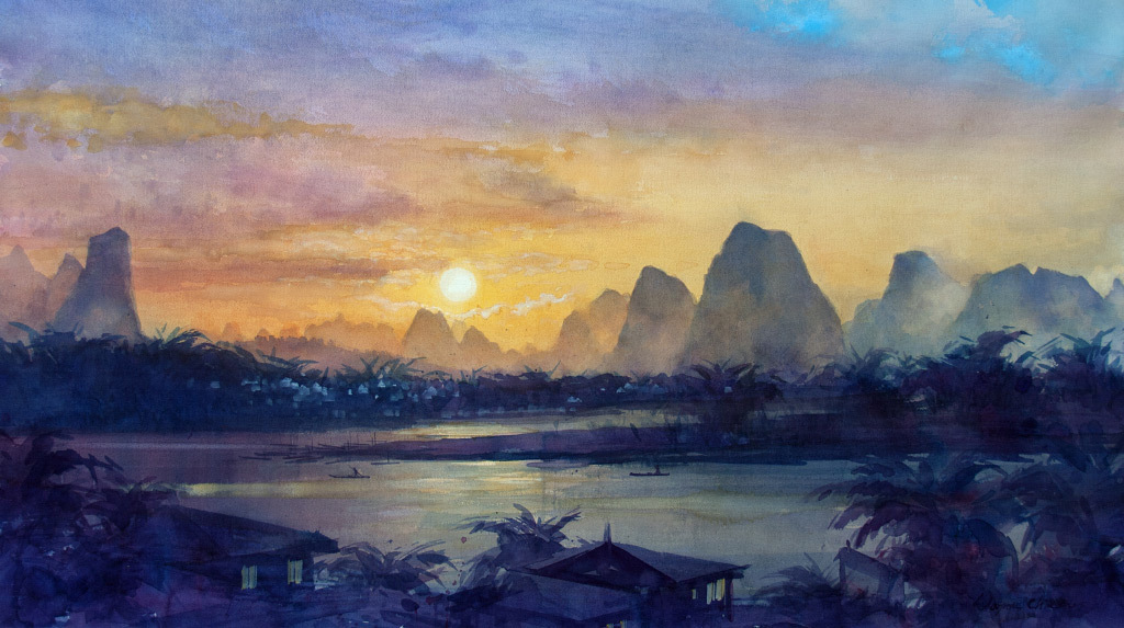 Wayne Hung Chin, Morning, watercolor
