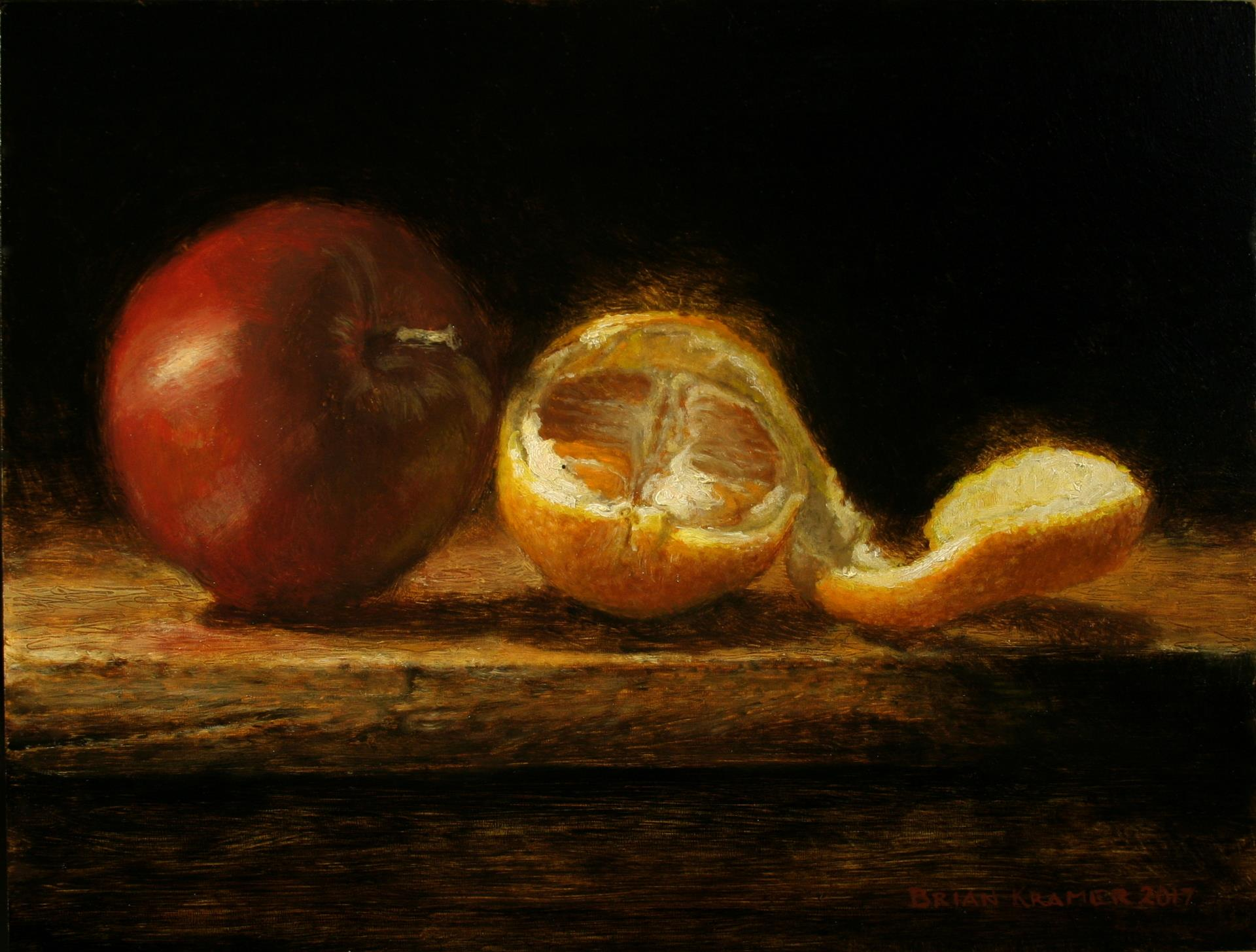 Brian Kramer, Apple and Orange, oil on panel