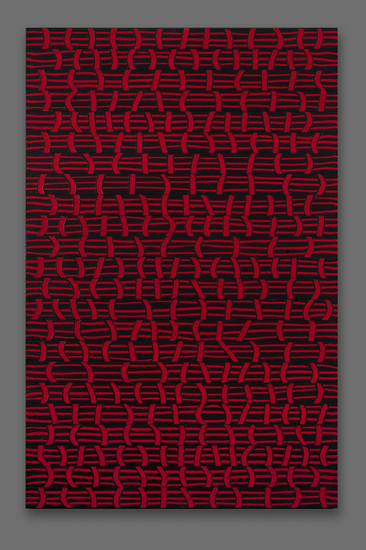 Richard Rollins, Black on Red, acrylic on wood