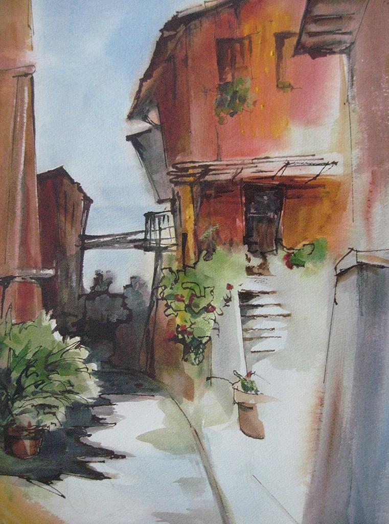 Deborah Marble, Italian Back Street, water color