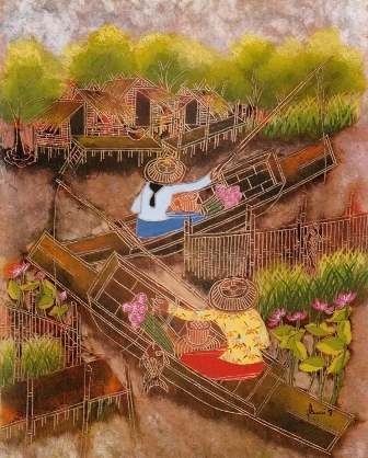 Fasai Streed, Floating Market, oil