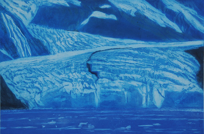 Gregory Pfarr, Glacier, Prince Williams Sound, Alaska, etching