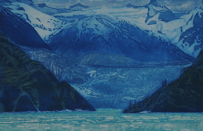 Gregory Pfarr, South Sawyer Glacier, Tracy Arm, Alaska, etching
