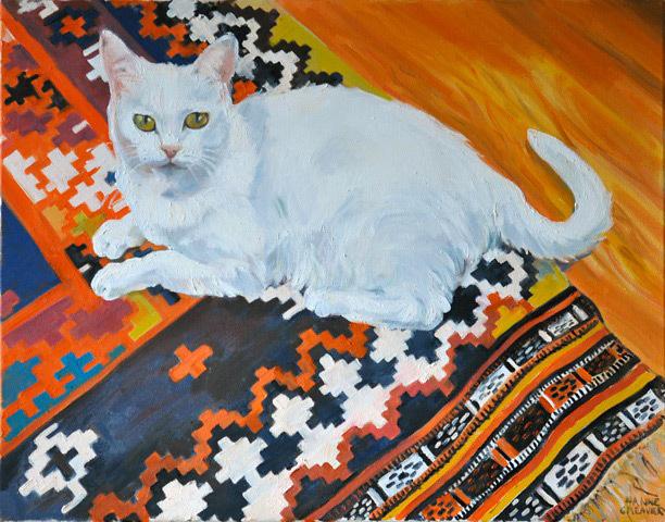 Hanne Greaver, Cat on Kilim, oil