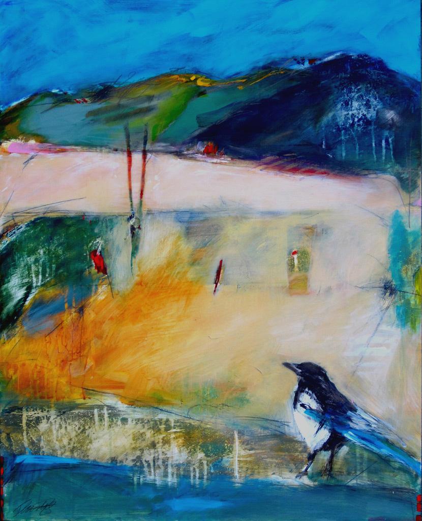 Ingrid Lustig, Gazing Magpie, acrylic