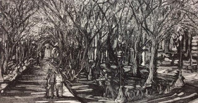 Jani Hoberg, Portland Park Blocks, etching