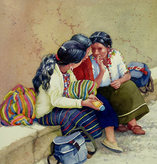 LaVonne Tarbox-Crone, Guatemalan Whispers, water color