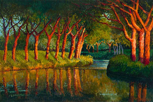 Patty Bentley, Canal Du Midi, oil
