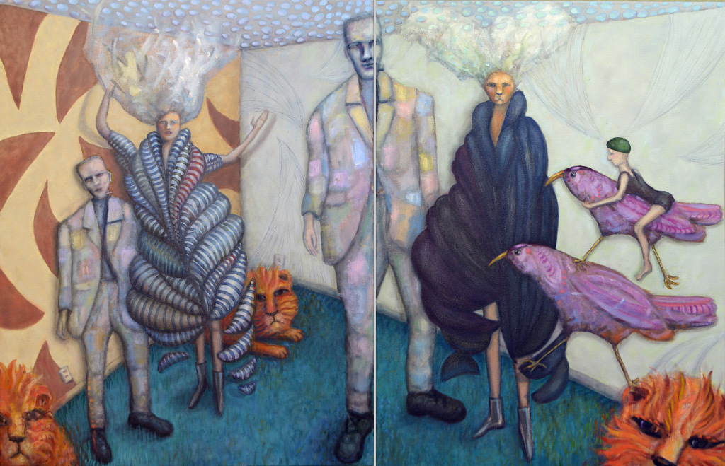 Paula Bullwinkel, 3 Lions and Frankenstein's Boys, oil