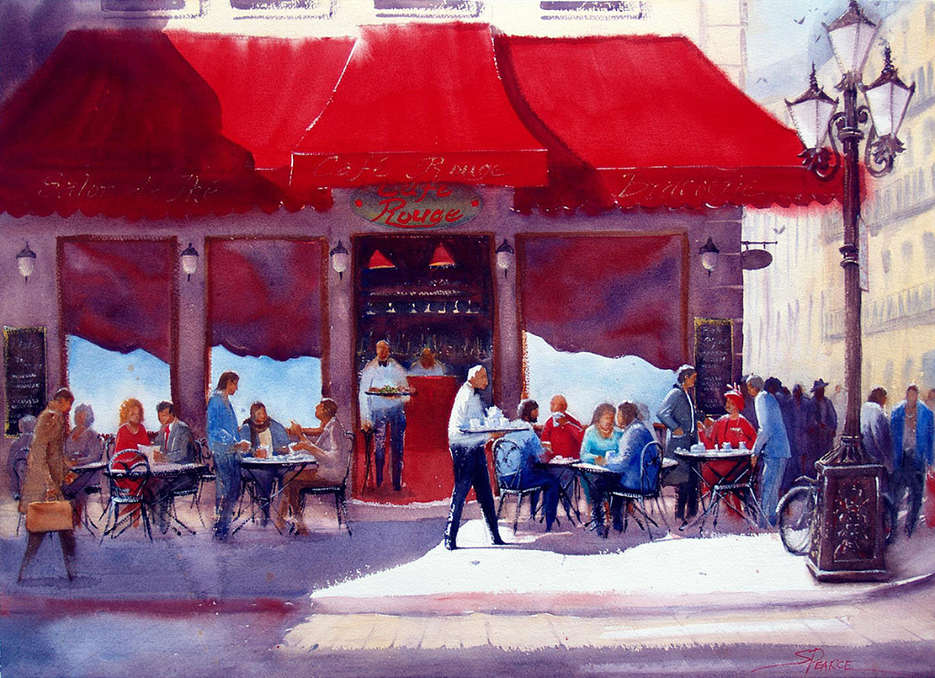 Sandra Pearce, Cafe et Conversations, water color