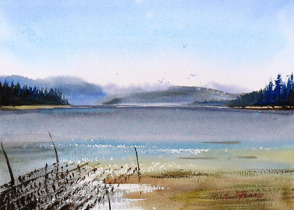Sandra Pearce, Oyster Bed, Nahcotta, watercolor