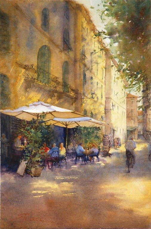 Sandra Pearce, Vino congli Amici, Piazza Napoleone, Lucca, water color