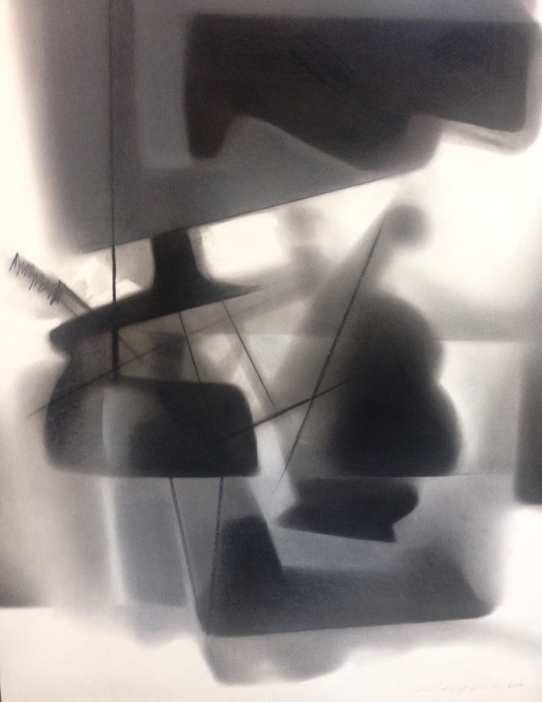 Cecy Colichon, Construction IX, charcoal