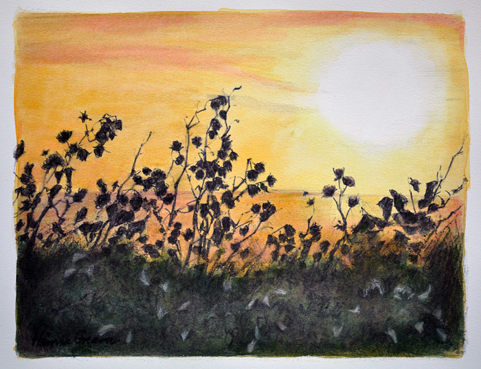 Hanne Greaver, Evening Glow, water color
