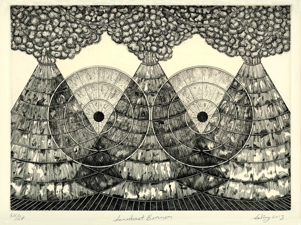 John Saling, Sawdust Burner, engraving