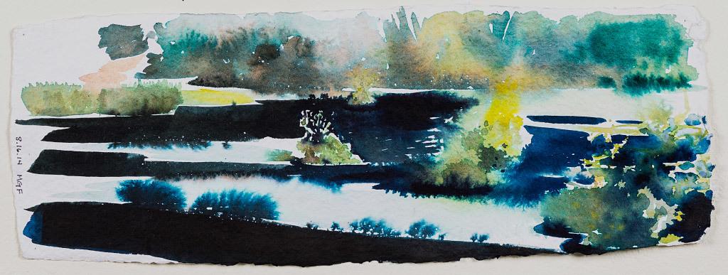 Kathleen Caprario, Lake Study 1, water color