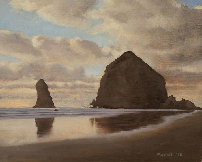 Kevin Farrell, Day's End at Cannon Beach, oil