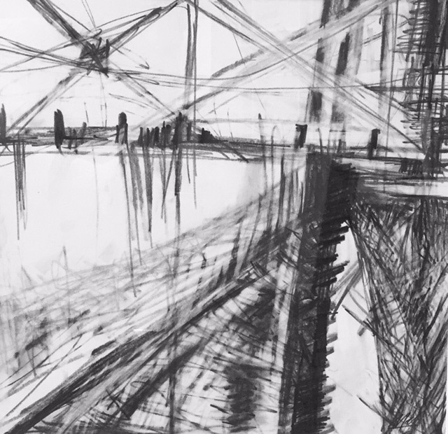 Mel Townsend, Hawthorne Bridge 3, graphite