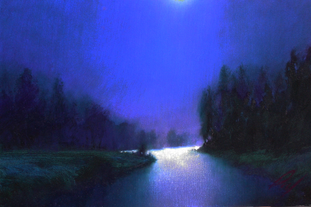Paul Joseph Lucas, Moonlight, oil on canvas