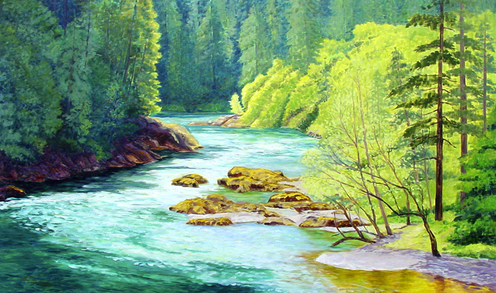 Susan Comerford, North Umpqua Passage, oil