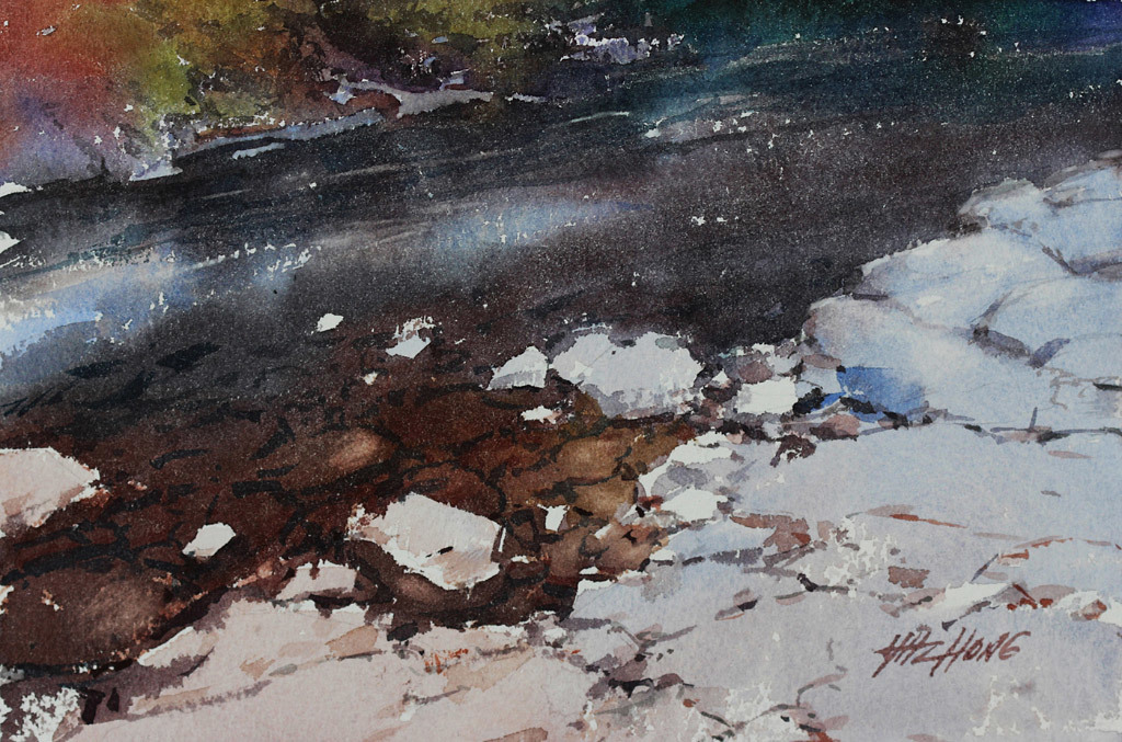 Yong Hong Zhong, Along the Creek, water color