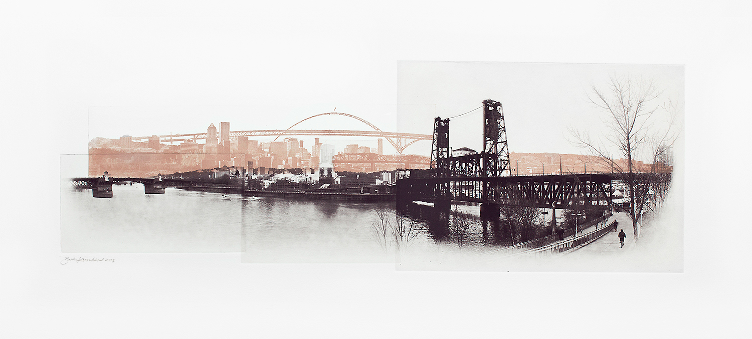Beth Kerschen, East Bank View of the Rose City, photo etching