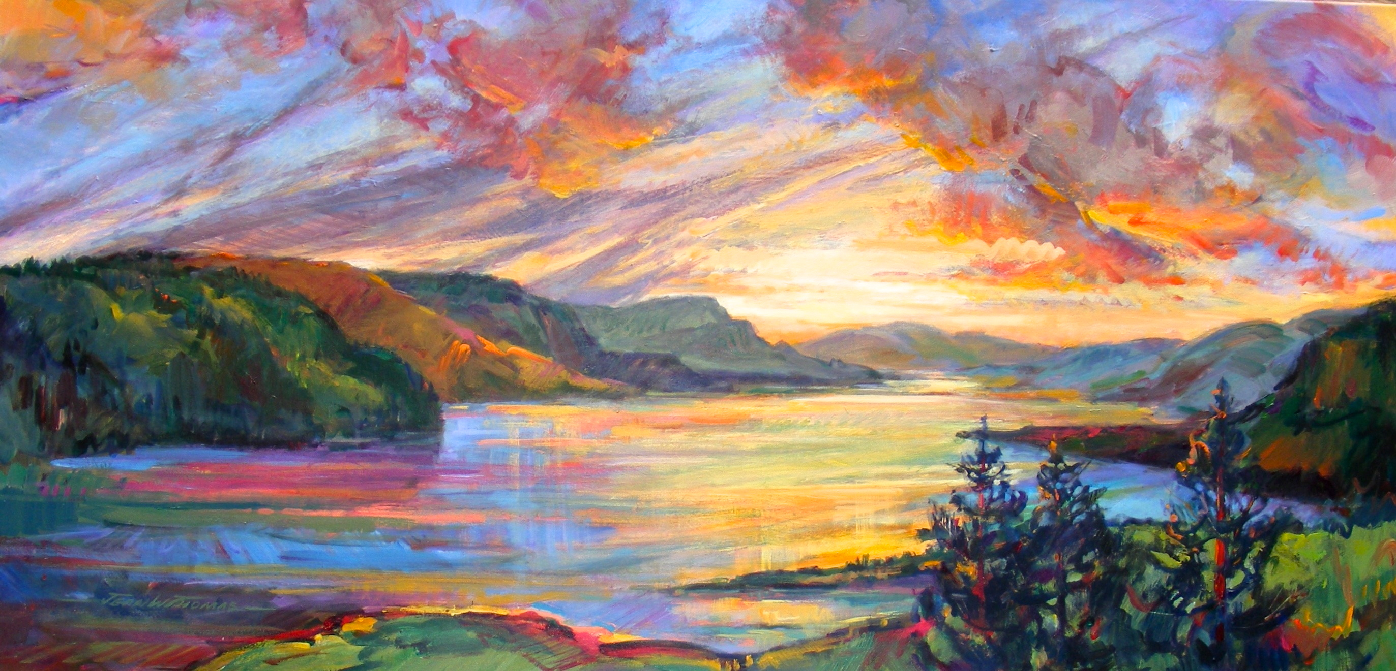Jean Thomas, Golden Light:Columbia Gorge, acrylic