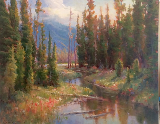 Sharon Engel, Spring Flowers, Sparks Lake, oil