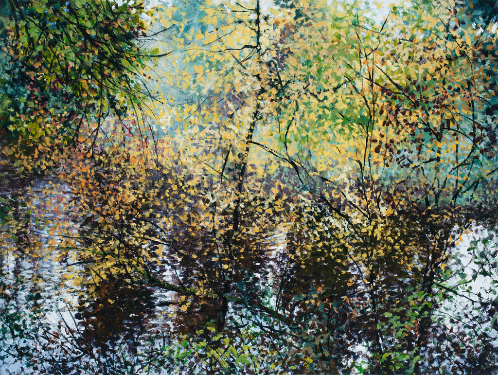 Angelita Surmon, Casting Autumn on the Lake, acrylic on canvas
