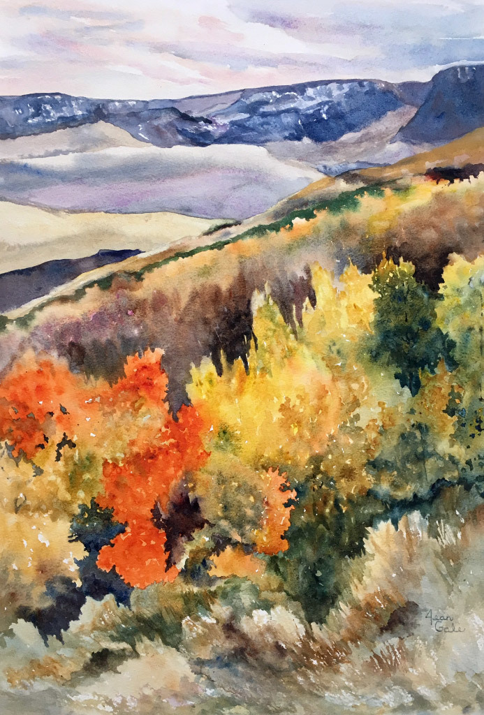 Jean Gale, Fall in the Steens, water color