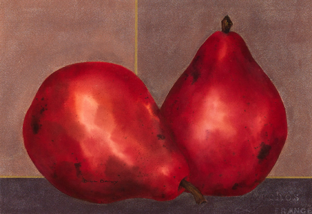 Bill Baily, Crimson Pears, water color