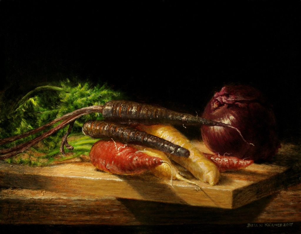 Brian Kramer, Carrots, oil on panel