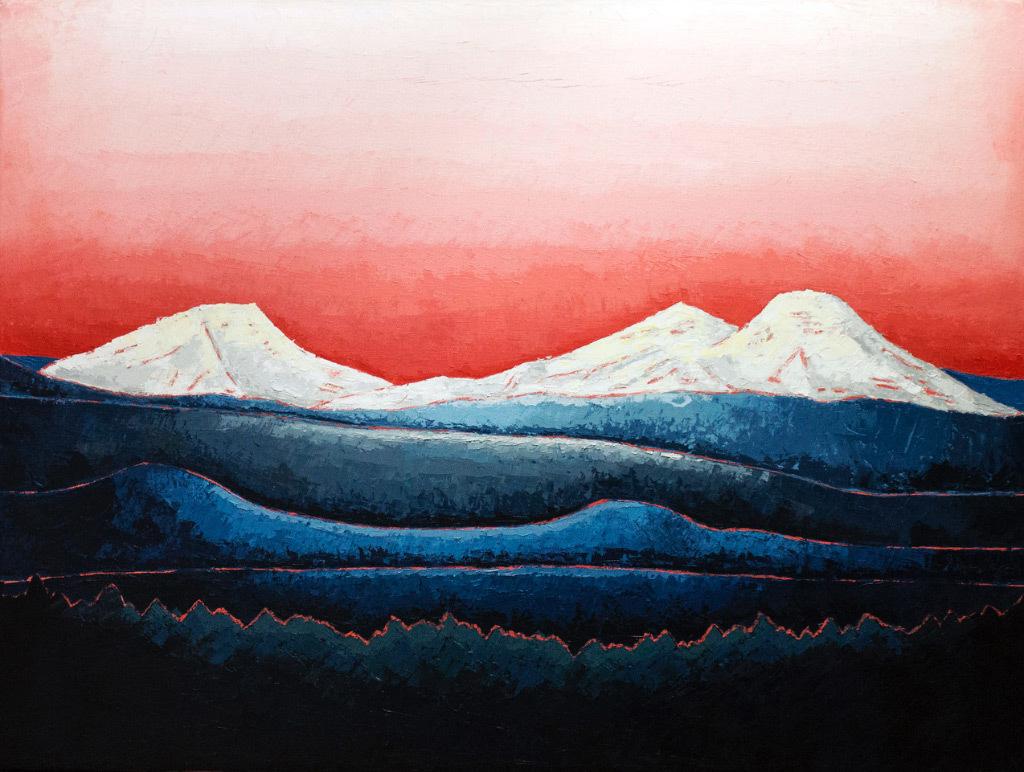 Christopher Bibby, Three Sisters, Bend OR, oil and wax