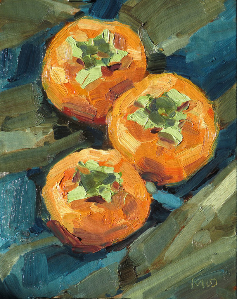 Ken Klos, Three Persimmons, oil on panel