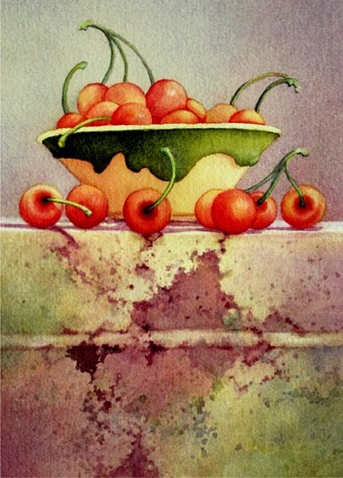 LaVonne Tarbox-Crone, Cherry Bowl, water color