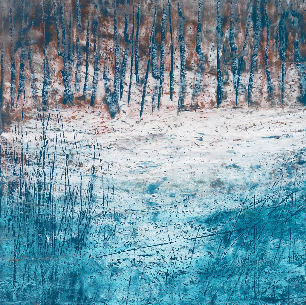 Mary Dennis, Winter Woods, oil pastel